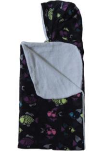 Toalha De Banho Com Capuz Infantil Gigante Colo De Mãe Peixes Preto
