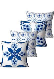 Kit Com 4 Capas Pump Up Para Almofadas Decorativas Azul Geométrico 45X45Cm