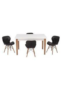 Conjunto Mesa De Jantar Luiza 135Cm Branca Com 4 Cadeiras Slim - Preto