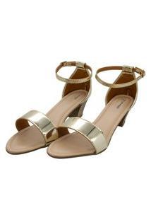Sandália Romântica Calçados Dourada
