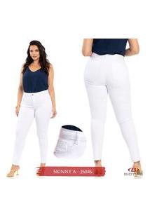 Calça Sarja Skinny Plus Size Feminina Biotipo Branca