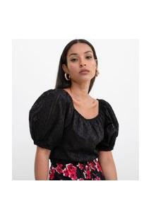 Blusa Cropped Com Mangas Bufantes E Furinhos | A-Collection | Preto | G