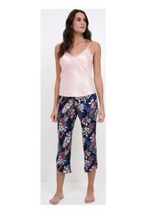 Pijama De Cetim Com Renda E Calça Pantacourt Floral