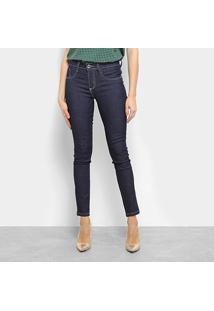 Calça Jeans Skinny Chocomenta Lisa Cintura Média Feminina - Feminino-Azul