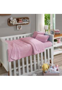 Lençol Com Elástico Para Berço Soft Baby Liso Rosa Bebê - Sbx Têxtil