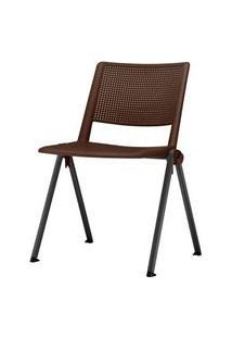 Cadeira Up Assento Marrom Base Fixa Preta - 54330 Marrom