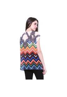 Blusa 101 Resort Wear Tunica Ampla Decote Careca Estampada Geometrica