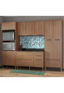 Cozinha Completa Multimóveis Com 5 Peças Calábria 5452 Nogueira