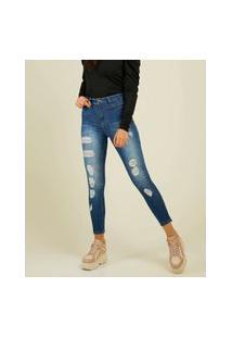 Calça Jeans Destroyed Feminina Cigarrete Sawary