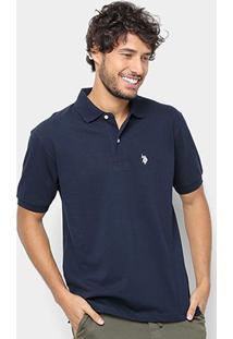 Camisa Polo U.S. Polo Assn Básica Lisa Masculina - Masculino-Azul Navy