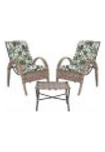 Jogo Cadeiras 2Un E Mesa P/ Jardim Edicula Varanda Descanso Trama Napoli Plus Argila A33