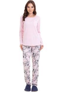 Pijama Longo Floral Com Bolso Feminino Com Algodão Adulto