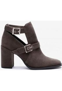 Ankle Boot Recortes Feminino - Feminino-Cinza