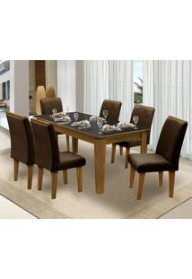 Mesa Para Sala De Jantar Saint Michel Com 6 Cadeiras – Dobuê Movelaria - Mell / Preto / Chocolate