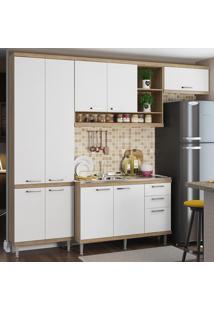 Cozinha Compacta 9 Portas 3 Gavetas Com Balcão Para Pia 5840 Branco/Argila - Multimóveis