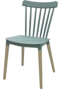 Cadeira Pierre Verde Menta Com Base Madeira - 51178 - Sun House