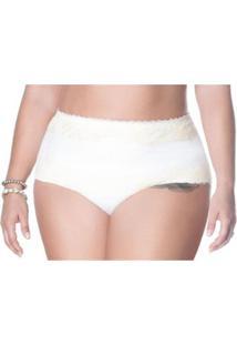 Calcinha Plus Size Cintura Alta Nayane Rodrigues Feminina - Feminino-Branco