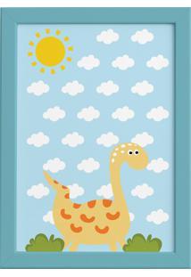 Quadro Infantil Dinossauro Quartinhos Baby 2 Amarelo 22X32 Moldura Azul