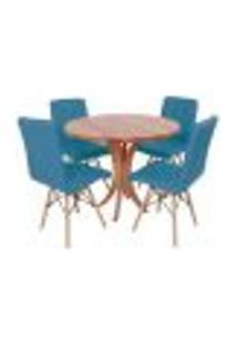 Conjunto Mesa De Jantar Tampo De Madeira 90Cm Com 4 Cadeiras Gomos - Turquesa