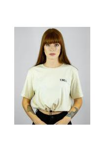 Camiseta Cropped Toneh Regulador Bege Bege