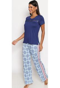 Pijama Com Renda- Azul & Verde ÁGua- Daniela Tombinidaniela Tombini