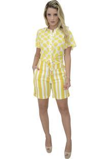Camisa Mamorena Compose Poa Amarelo