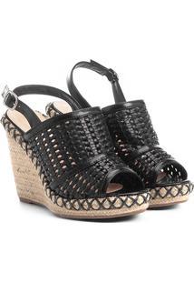 Sandália Anabela Shoestock Tressê Feminina - Feminino-Preto
