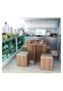 Conjunto Mesa E Cadeiras 4 Lugares Quadrada - Castanho/Bege