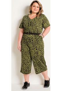 Macacão Com Elástico Plus Size Onça Verde