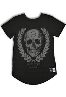 Camiseta Longline Skull Arch Pto - Masculino