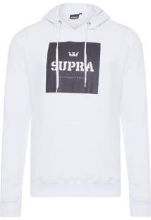 Blusa Masculina Moletom International Pullover - Branco