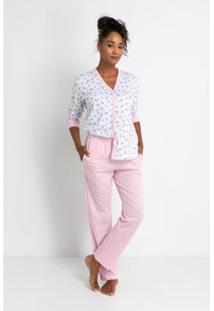 Pijama Longo Acuo Meia Malha De Algodão Love Liberty Feminino - Feminino-Branco
