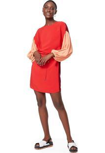 Vestido Transpasse Costas Tricolor Preto - 36