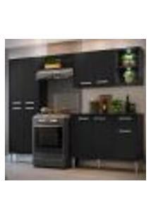Cozinha Completa Compacta C/ 2 Leds, Armário E Balcão C/ Tampo 4 Pçs Xangai Multimóveis Preta