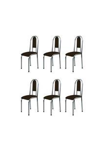 Kit 6 Cadeiras Anatômicas 0.122 Estofada Cromado/Marrom Escuro - March