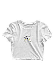 Blusa Blusinha Cropped Tshirt Camiseta Feminina Gatinho Bochecha Amarela Branco