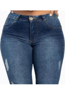 Calça Jeans Skinny Com Puídos Biotipo Feminina - Feminino