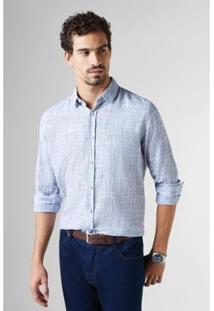 Camisa Ml Ft Trama Reserva Masculina - Masculino-Azul