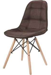 Cadeira Eames Estofada Linho Marrom Base Madeira - 43055 - Sun House