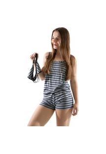 Baby Doll 4 Estações Pijama Listrado Com Calcinha De Brinde Curto Cinza