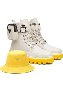 Kit Coturno Vicerinne Colors Off White+ Bucket Amarelo