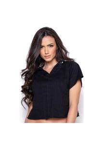 Blusa Cropped Toda Casual Be Strong Preto