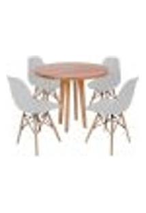 Conjunto Mesa De Jantar Em Madeira 90Cm Com Base Vértice + 4 Cadeiras Eiffel - Cinza