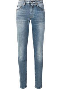 Saint Laurent Calça Jeans Skinny Com Bordado - Azul