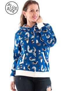 Blusão Konciny Moletom Canguru Plus Size Azul
