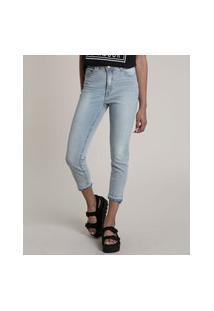 Calça Jeans Feminina Skinny Cintura Alta Com Barra Desfeita Azul Claro