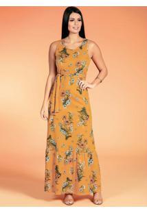 Vestido Com Faixa Floral Moda Evangélica