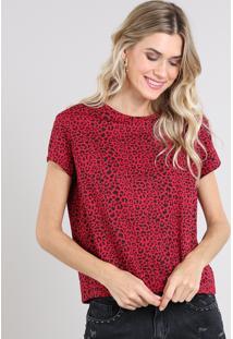 Blusa Feminina Estampada Animal Print Manga Curta Decote Redondo Vermelha