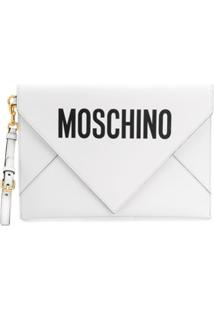 Moschino Clutch Com Estampa De Logo - Branco