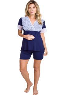 Pijama Curto Inspirate Gestante Azul Marinho Com Renda Azul Marinho - Kanui